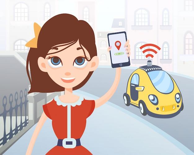 Vrouw bestelt taxi zonder bestuurder met behulp van mobiele applicatie. vrouwelijke stripfiguur met smartphone in de hand en auto op straat achtergrond van de stad. illustratie.