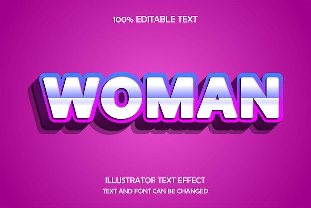 Vrouw, bewerkbaar teksteffect, blauw roze schaduwstijl