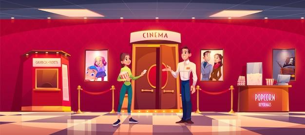 Vrouw bezoek bioscoop geef kaartje aan man controller