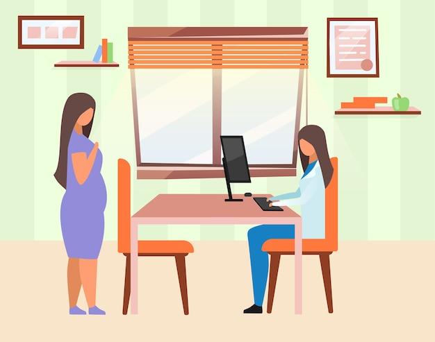 Vrouw bezoekende dokter plat. zwangere dame gynaecoloog stripfiguren raadplegen. zwaarlijvig meisje en voedingsdeskundige. gecertificeerde diëtist die patiënt met overgewicht raadpleegt in de kliniek