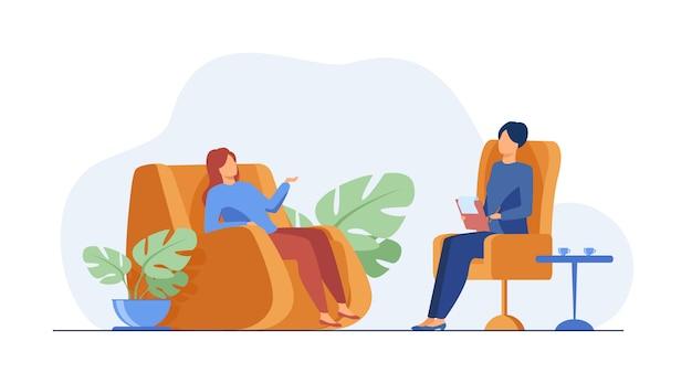 Vrouw bezoekende psycholoog
