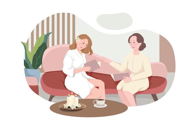 Vrouw bezoekende schoonheidssalon, vrouwelijke cliënt situeren in comfortabele stoel