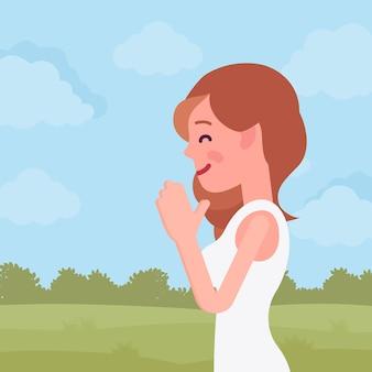 Vrouw bidden in namaste gebaar Premium Vector