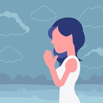 Vrouw bidden in namaste gebaar