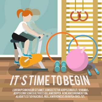Vrouw bij gymnasium fitness poster