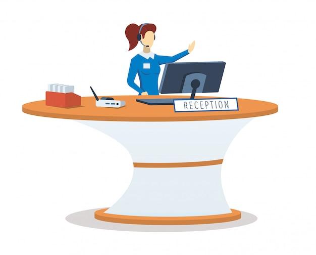 Vrouw bij illustratie van de receptie de semi rgb kleur. hotel lobby. office manager. anonieme vrouwelijke receptioniste, beheerder. geïsoleerde stripfiguur op witte achtergrond