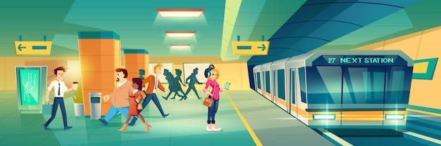 Vrouw bij metro stationbanner