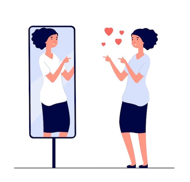 Vrouw bij spiegel. gespiegeld blij meisje. cartoon weerspiegelde mooi vrouwelijk narcisme en liefde voor zelf vector concept
