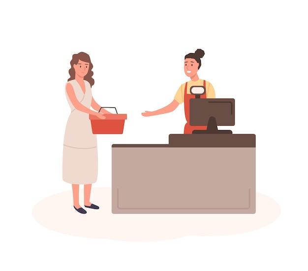 Vrouw bij winkelcentrum kassa platte vectorillustratie. vrouwelijke klant met winkelmandje in wachtrij stripfiguren. meisje met aankopen bij kassierbureau. verkoper en koper geïsoleerd op wit.