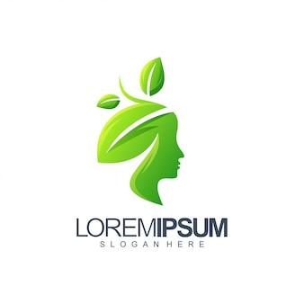 Vrouw blad logo ontwerp illustratie