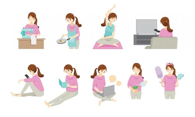 Vrouw blijft thuis en werkt thuis met vele activiteiten, bescherming tegen coronavirusziekte, covid-19, dagelijkse routines van vrouwen