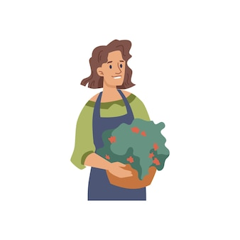 Vrouw bloemist of bloemenverkoper met potplant geïsoleerde platte stripfiguur tuinman