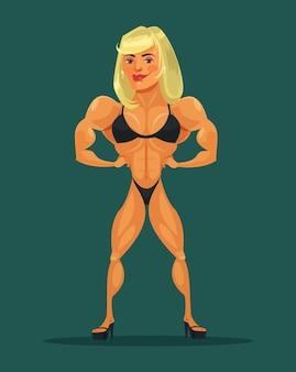 Vrouw bodybuilder. vectorillustratie platte cartoon