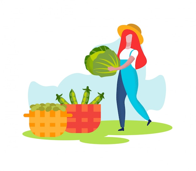 Vrouw boer carry kool naar mand, oogsten