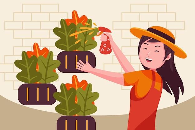 Vrouw boer sproeien van pesticiden op boerderij.