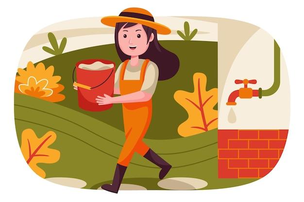 Vrouw boer tilt het water in de container.