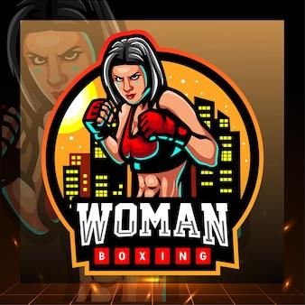 Vrouw boksen mascotte esport logo ontwerp