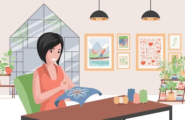 Vrouw borduurwerk op het ontwerp van de canvasillustratie
