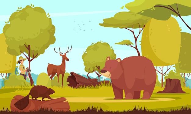 Vrouw boswachter kijken naar wilde dieren in bos cartoon