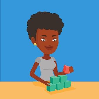 Vrouw bouwen piramide van netwerk avatars.