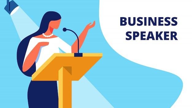 Vrouw business spreker op podium leest rapport.