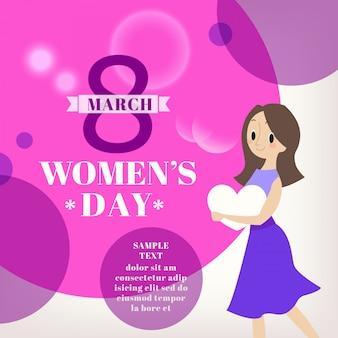 Vrouw cartoon afbeelding met 8 maart word op de achtergrond womens dag vieringsconcept
