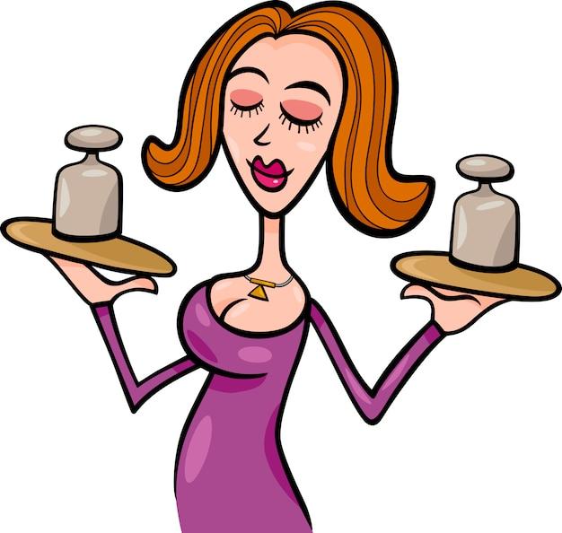 Vrouw cartoon illustratie weegschaal teken