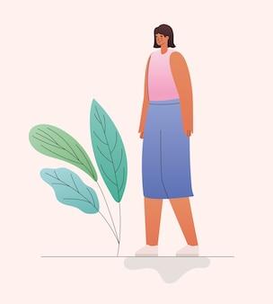 Vrouw cartoon met bladeren ontwerp, meisje vrouwelijke persoon mensen menselijk thema
