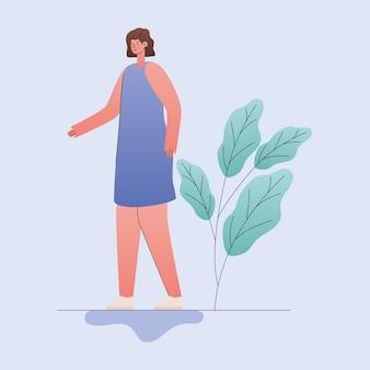 Vrouw cartoon met bladeren ontwerp, meisje vrouwelijke persoon mensen menselijke en sociale media-thema