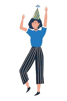 Vrouw cartoon met feestmuts