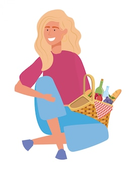 Vrouw cartoon met picknick