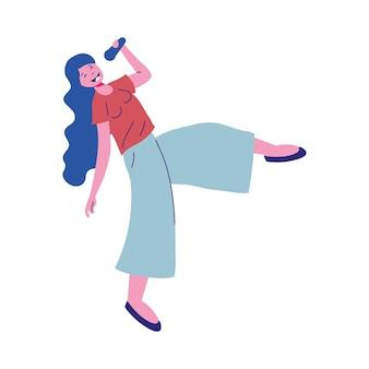 Vrouw cartoon zingen meisje vrouwelijke persoon