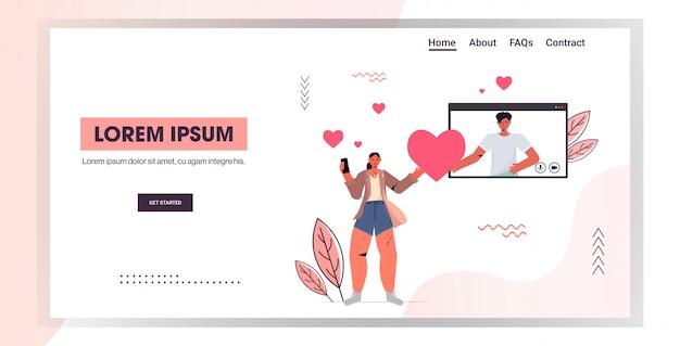 Vrouw chatten met man in online dating app paar bespreken tijdens virtuele vergadering sociale relatie communicatie concept horizontale kopie ruimte illustratie