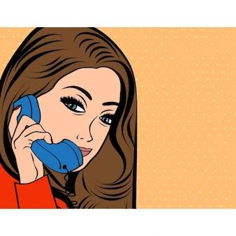 Vrouw chatten op de telefoon pop art illustratie