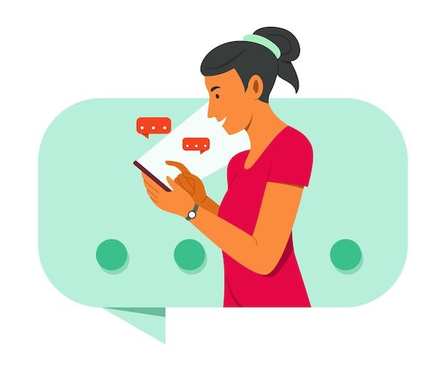 Vrouw chatten op mobiele telefoon