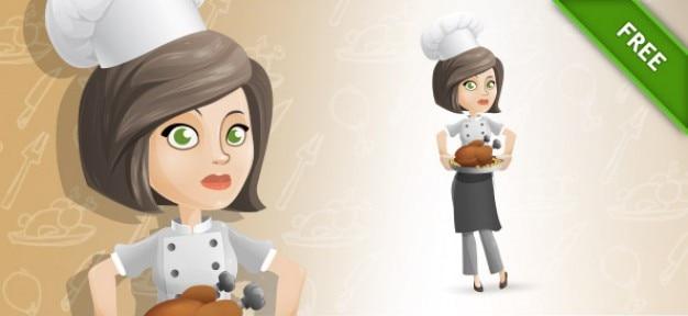 Vrouw chef kok cartoon vector