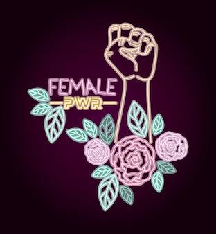 Vrouw dag neon label met hand vuist en rozen