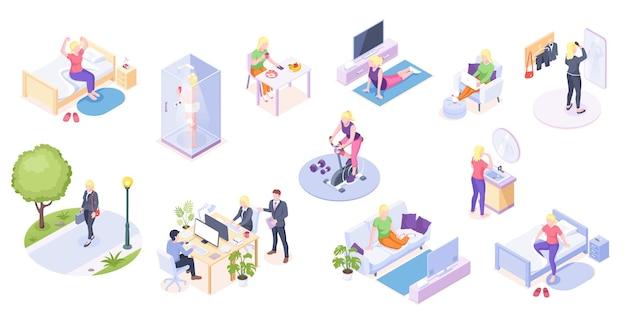 Vrouw dagelijks leven thuis routine en werk dagelijkse activiteit isometrische pictogrammen vrouw dagelijks leven op