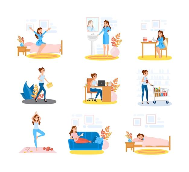 Vrouw dagelijkse routine set. vrouwelijk personage aan het doen
