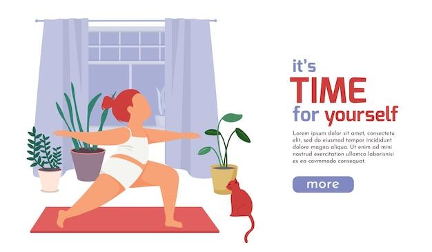 Vrouw dagelijkse routine vlakke afbeelding met vrouwelijk karakter lichaam oefeningen doen