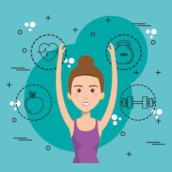 Vrouw dansen met sport pictogrammen
