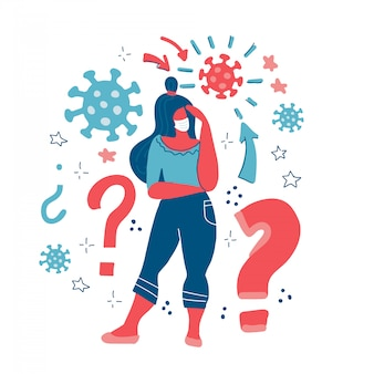 Vrouw denkt. coronavirus concept. meisje denken over problemen, financiën, leven, relatie. vraag. meisje lost een probleem op. vrouw met vraagtekens. blijf thuis veilig. vlakke afbeelding.