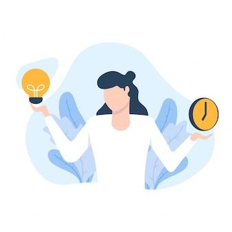 Vrouw denkt over tijd en ideeillustratie
