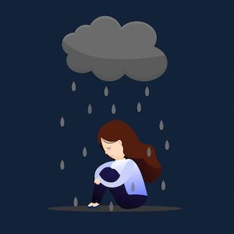 Vrouw depressief concept.