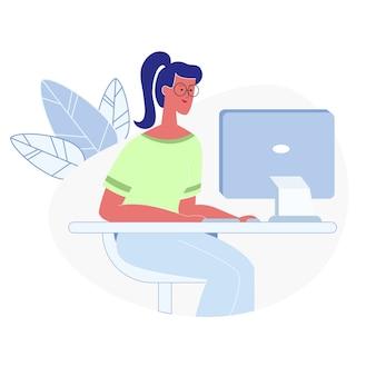 Vrouw die aan computer vlakke vectorillustratie werkt