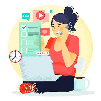 Vrouw die aan haar laptop werkt en aan de telefoon spreekt