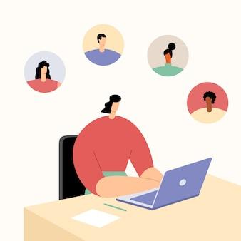Vrouw die aan laptop in bureau werkt. communicatie met klanten en zakelijke partners, interactie met vrienden op sociale netwerken. vlak