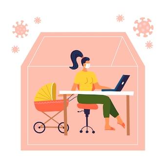 Vrouw die aan laptop thuis met haar kind in wandelwagen werkt. mom freelancer met een kinderwagen. externe quarantaine. covid-19 buitensilhouet van huis. vlakke afbeelding.