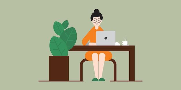 Vrouw die aan laptop werkt thuis, het werk van huis