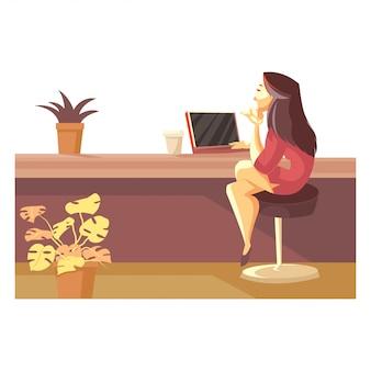 Vrouw die aan laptop werkt